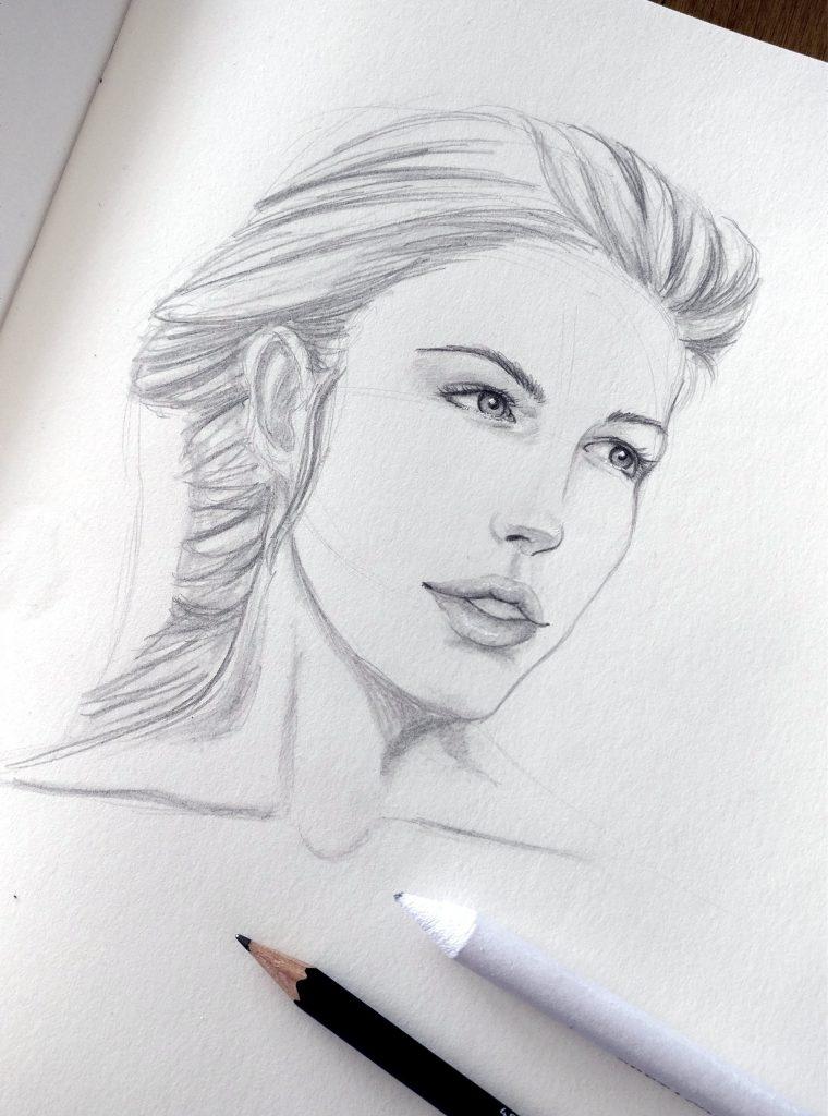 Bleistiftskizze, Portrait, Frau